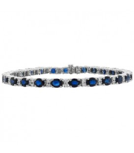 Bracelets - 12.35 Carat Sapphire and Diamond Bracelet 18Kt White Gold