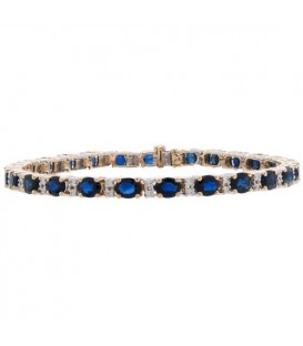 12.60 Carat Sapphire and Diamond Bracelet 18Kt Yellow Gold