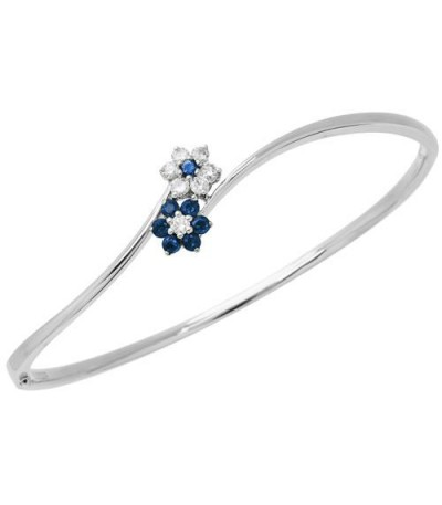 Bracelets - 0.89 Carat Sapphire and Diamond Bangle 18Kt White Gold