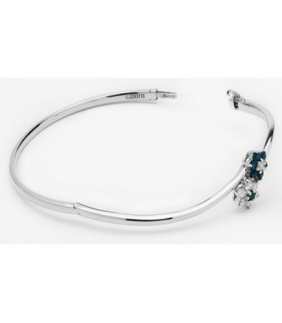 0.89 Carat Sapphire and Diamond Bangle 18Kt White Gold