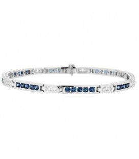 Bracelets - 2.64 Carat Sapphire and Diamond Bracelet 18Kt White Gold
