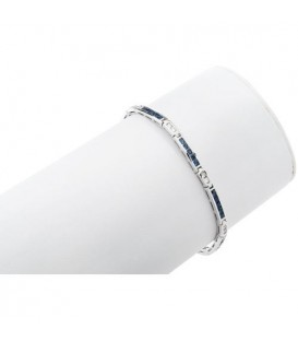 2.64 Carat Sapphire and Diamond Bracelet 18Kt White Gold