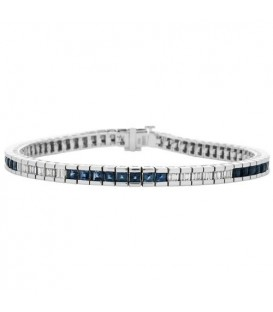 Bracelets - 4.41 Carat Sapphire and Diamond Bracelet 18Kt White Gold