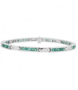Bracelets - 2.50 Carat Emerald and Diamond Bracelet 18Kt White Gold