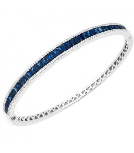 Bracelets - 3.32 Carat Sapphire and Diamond Bracelet 18Kt White Gold