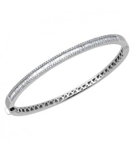 Bracelets - 1.10 Carat Diamond Bangle Bracelet 18kt White Gold
