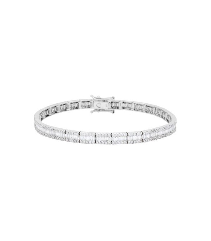 baguette and diamond bracelets bracelet round media carat