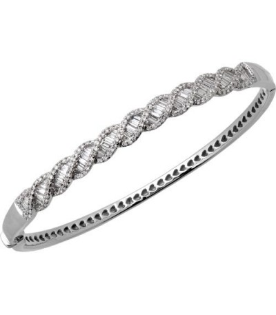 Bracelets - 1.50 Carat Diamond Bangle Bracelet 18Kt White Gold