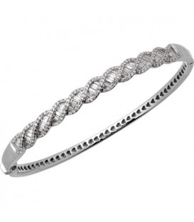 1.50 Carat Diamond Bangle Bracelet 18Kt White Gold