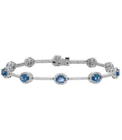 Bracelets - 6.28 Carat 18Kt White Gold Sapphire and Diamond Bracelet