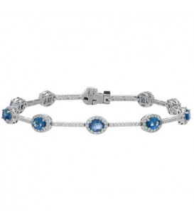 More about 6.28 Carat 18Kt White Gold Sapphire and Diamond Bracelet