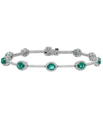 Bracelets - 4.78 Carat Emerald and Diamond Bracelet 18Kt White Gold