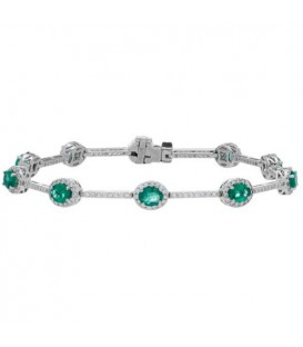 More about 4.78 Carat Emerald and Diamond Bracelet 18Kt White Gold