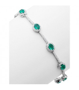 4.78 Carat Emerald and Diamond Bracelet 18Kt White Gold