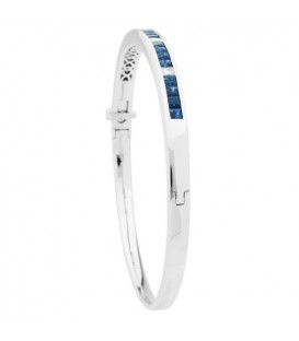 3.89 Carat Sapphire and Diamond Bangle 18Kt White Gold