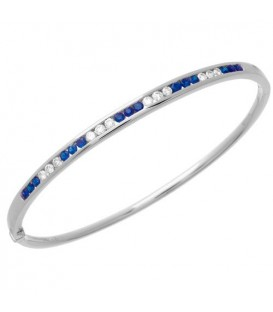 More about 1.44 Carat Sapphire and Diamond Bangle 18Kt White Gold