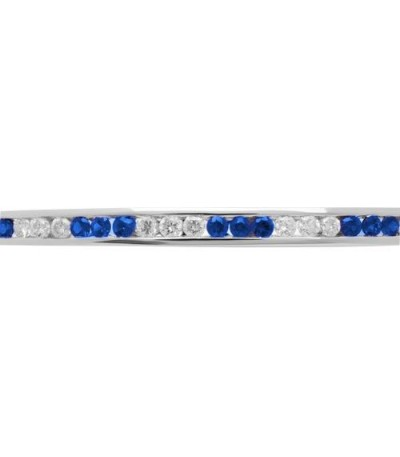 1.44 Carat Sapphire and Diamond Bangle 18Kt White Gold