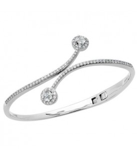 Bracelets - 1.49 Carat Quattour Diamond Bangle Bracelet 18Kt White Gold