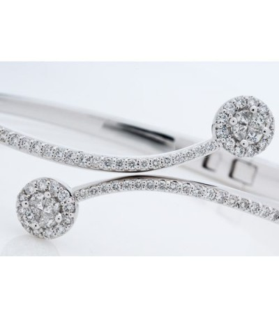 1.49 Carat Invisible Set Diamond Bangle Bracelet 18Kt White Gold