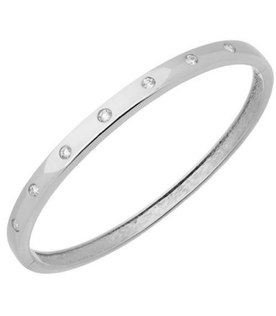 Bracelets - 0.50 Carat Round Cut Diamond Bangle in 18Kt White Gold