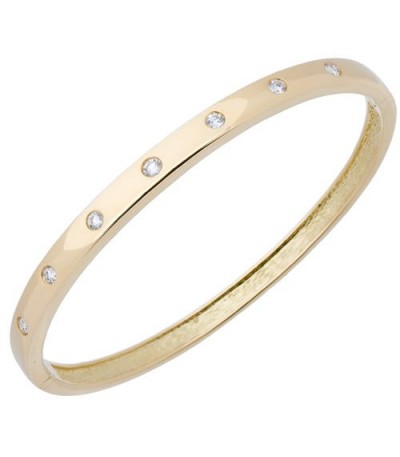 Bracelets - 0.50 Carat Round Cut Diamond Bangle in 18Kt Yellow Gold