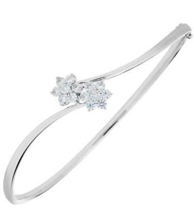 Bracelets - 0.76 Carat Diamond Bangle 18Kt White Gold