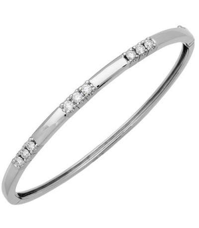 Bracelets - 0.66 Carat Diamond Bangle 18Kt White Gold