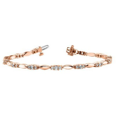 Bracelets - 1.00 Carat Diamond Tennis Bracelet 18Kt Rose Gold