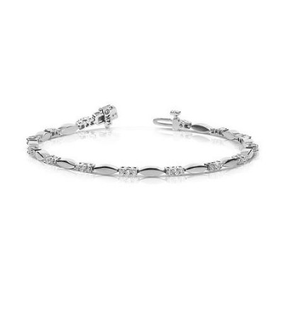 Bracelets - 1.00 Carat Diamond Tennis Bracelet 18Kt White Gold