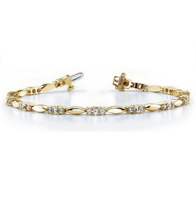 Bracelets - 1.00 Carat Diamond Tennis Bracelet 18Kt Yellow Gold