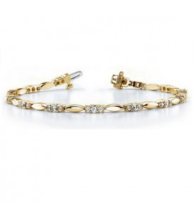 1.00 Carat Diamond Tennis Bracelet 18Kt Yellow Gold