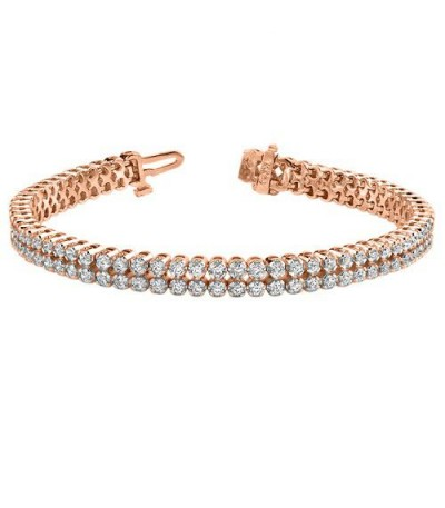 Bracelets - 3.50 Carat Diamond Tennis Bracelet 18Kt Rose Gold