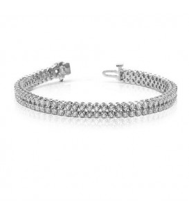 Bracelets - 3.50 Carat Diamond Tennis Bracelet 18Kt White Gold