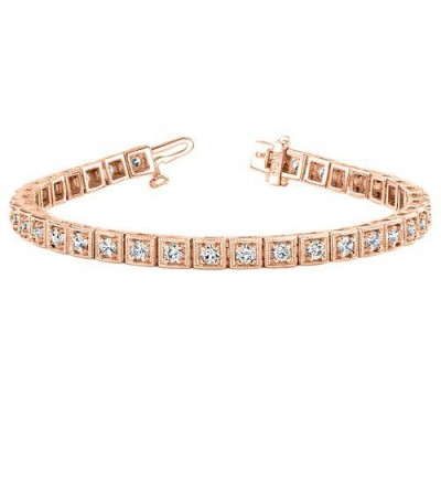 Bracelets - 1.50 Carat Diamond Tennis Bracelet 18Kt Rose Gold