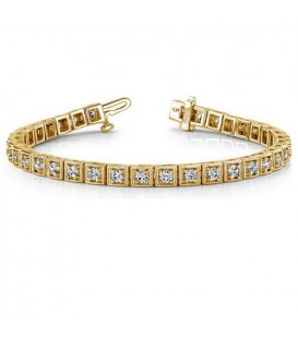 Bracelets - 1.50 Carat Diamond Tennis Bracelet 18Kt Yellow Gold