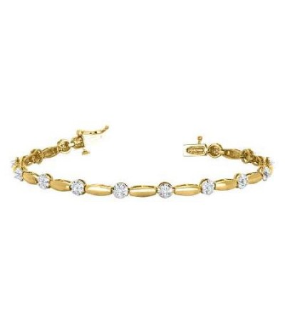 Bracelets - 0.25 Carat Diamond Tennis Bracelet 18Kt Yellow Gold