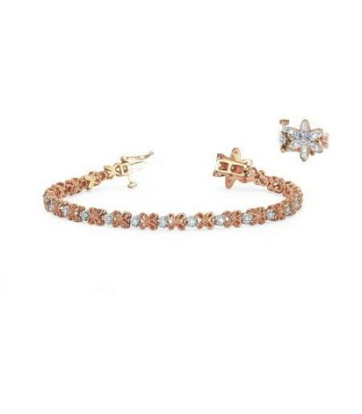 Bracelets - 0.50 Carat Diamond Tennis Bracelet 18Kt Rose Gold