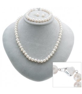 Cultured Freshwater White Pearl Set 925 Sterling Silver