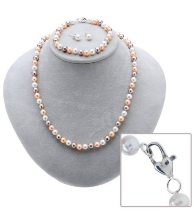 Set - Cultured Freshwater White, Plum and Peach Pearl Set 925 Sterling Silver