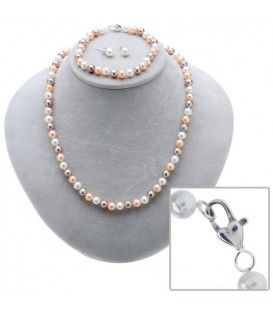 More about Cultured Freshwater White, Plum and Peach Pearl Set 925 Sterling Silver