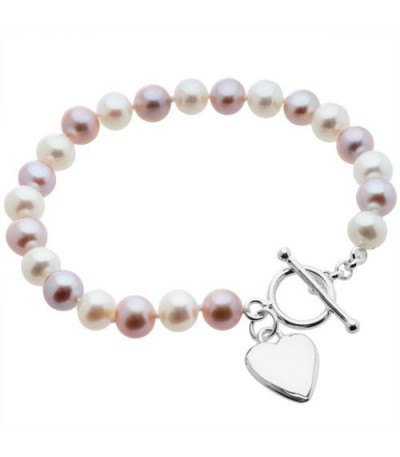 Bracelets - 7-8mm White and Plum Cultured Freshwater Pearl Bracelet 925 Sterling Silver Clasp