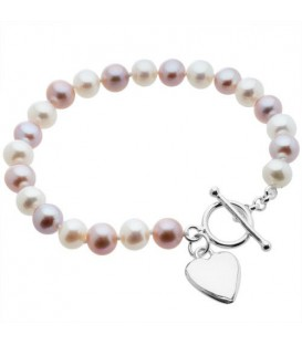 More about 7-8mm White and Plum Cultured Freshwater Pearl Bracelet 925 Sterling Silver Clasp