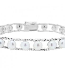6-7mm Cultured Freshwater Pearl Bracelet 925 Sterling Silver