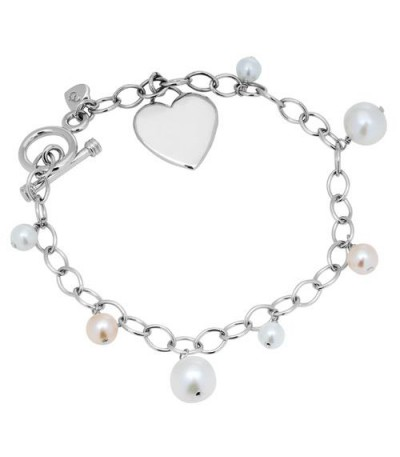 Bracelets - 5-8mm White and Pink Cultured Freshwater Pearl Charm Bracelet 925 Sterling Silver