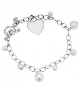 More about 5-8mm White and Pink Cultured Freshwater Pearl Charm Bracelet 925 Sterling Silver