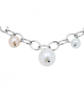 5-8mm White and Pink Cultured Freshwater Pearl Charm Bracelet 925 Sterling Silver