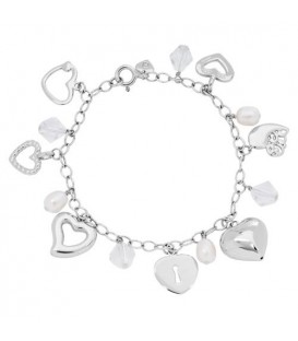 More about 6-8mm White Cultured Freshwater Pearl, Crystal Charm Bracelet 925 Sterling Silver