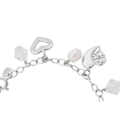 6-8mm White Cultured Freshwater Pearl, Crystal Charm Bracelet 925 Sterling Silver