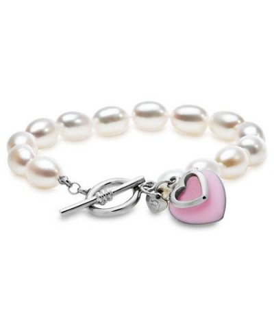 Bracelets - 8-9mm Pink Passion Heart Cultured Freshwater Pearl Bracelet 925 Sterling Silver Clasp
