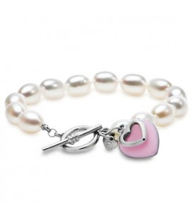 8-9mm Pink Passion Heart Cultured Freshwater Pearl Bracelet 925 Sterling Silver Clasp